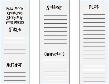 Full Moon Story Map Bookmarks