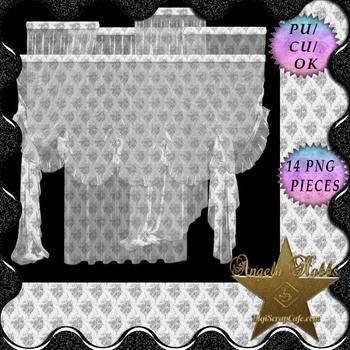 White Deco Sheer – 14 Full Curtain Set Pngs CU4CU