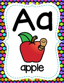Full Page Alphabet Posters - Polka Dot Theme Classroom Decor