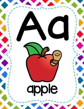 Full Page Alphabet Posters - Rainbow Theme Classroom
