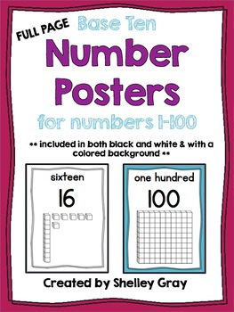 Full-Page Base Ten Number Posters {for numbers from 0-100}