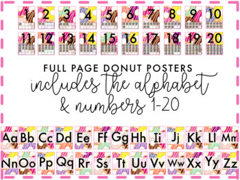 Full Page Donut Posters | Alphabet & Numbers 1-20