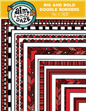Full Page Doodle Border-Big and Bold Set 1-RED