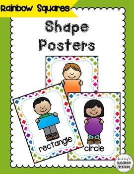 Shape Posters - Colorful Rainbow Theme Classroom