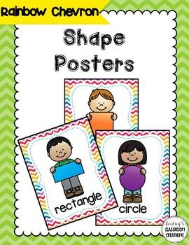 Shape Posters - Rainbow Chevron Theme - Pre-K and Kindergarten