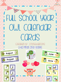 Owl Calendar Cards and Headers: Full School Year