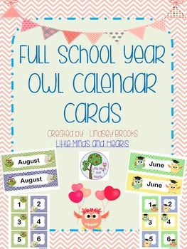 Owl Calendar Cards and Headers: Full School Year