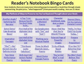Full Set: Reading Notebook Bingo Cards