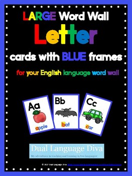 Full Size Word Wall Cards-BLUE Frame