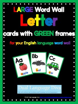 Full Size Word Wall Cards-GREEN Frame