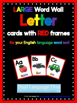 Full Size Word Wall Cards-RED Frame