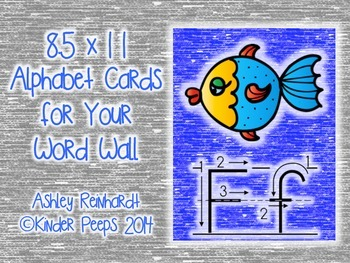 Full-Sized Alphabet Cards for Your Word Wall - Blue Set