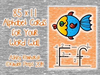 Full-Sized Alphabet Cards for Your Word Wall - Orange Set