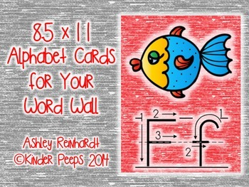 Full-Sized Alphabet Cards for Your Word Wall - Red Set