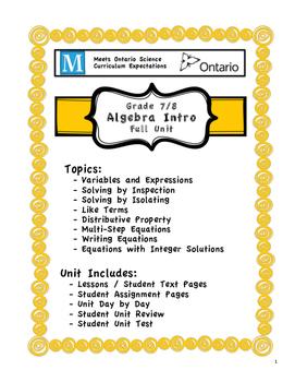 Full Unit - Algebra - Meets BOTH Ontario Grade 7/8 Patterning and Algebra