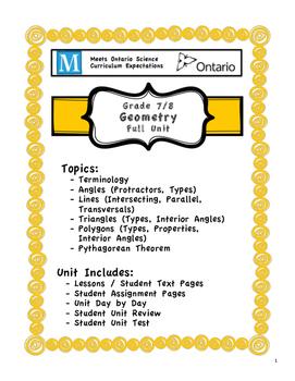 Full Unit - Geometry - Meets BOTH Ontario Grade 7/8 Geometry