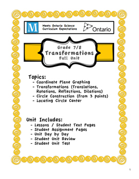 Full Unit - Transformations - Meets BOTH Ontario 7/8 Fractions Expectations