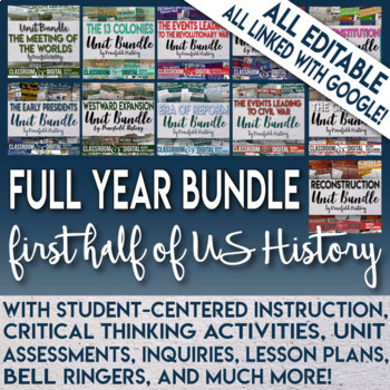 Full Year 1st Half of U.S. History Curriculum for Middle School