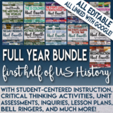 Full Year 1st Half of U.S. History Curriculum for Middle School Bundle