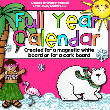 Full Year Board Calendar (Large) - Rainbow Bright / Neon colors