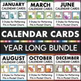 Pocket Chart Calendar Cards BUNDLE - Full Year Classroom Calendar Set