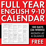 Full Year Calendar for High School English 9-10, 180 Days of CCSS Calendar, FREE