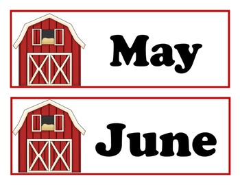 Full Year Farm Calender Collection for Pocket Charts