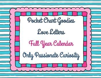 Full Year Heart Themed Pocket Chart Calendar Card Collection