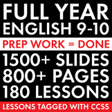 Full Year High School English, 180 Days of English 9-10 Curriculum, CCSS