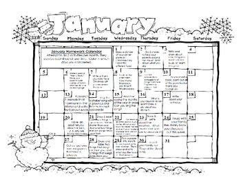 Full Year Kindergarten or First Homework Calendar