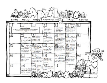 Full Year Kindergarten or First Homework Calendar