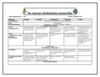 Editable Full Year Lesson Plan