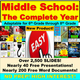 Middle School English Entire Year: Full Year, Junior High, 6th, 7th, 8th Bundle
