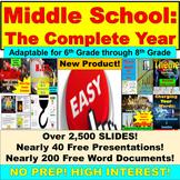 Middle School English Entire Year: Full Year, Junior High, 6th, 7th, 8th Bundle