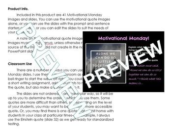 Full Year Motivational Monday - Journal/ Bell Ringer/ Writing Activities