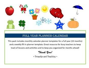 Full Year Planner Calendar