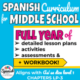Full Year Spanish 1 Curriculum for Middle School with workbook: Así se dice