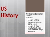 Full Year US History Course- Printable Notes, Narratives, Reviews & Worksheets