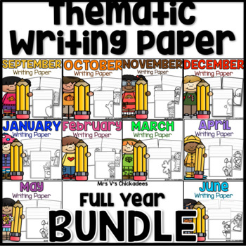 BUNDLE: Thematic Writing Paper for the Year