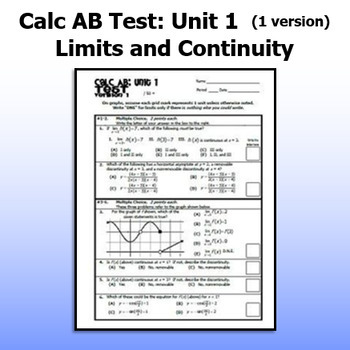 Full Year: 9 Calc AB Tests - ONE VERSION EACH (22% off when you buy them all)