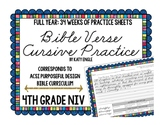 Full Year of Bible Verse Handwriting Cursive Practice: 4th Grade