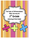 Full Year of Differentiated Math Homework 3rd/4th grade