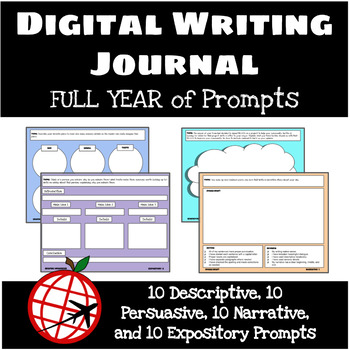 Full Year of Digital Writing Journals- 40 Weeks of Prompts- For Google Slides
