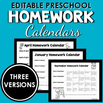 Full Year Of Editable Preschool Homework Calendars Filled With Ideas
