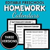 Full Year of Editable Preschool Homework Calendars Filled
