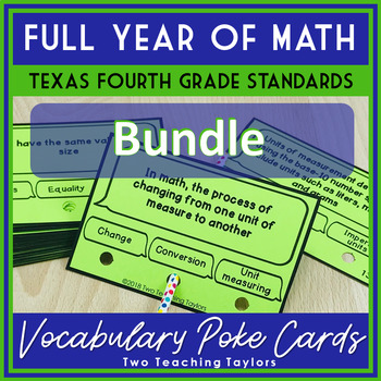 Full Year Of Fourth Grade Math Vocabulary Poke Cards Texas Standards