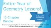 Full Year of Geometry PowerPoint Lessons Bundle - 74 dynamic lessons!!!