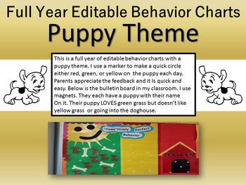 Full Year of Puppy Themed Behavior Charts 2 & 3 Day Precious Preschoolers