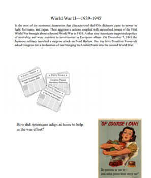 Full Year of U.S. History Unit Packets