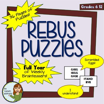 Full Year of Weekly Rebus Brainteaser Puzzles! Bell-Ringer Warm Ups! (Gr. 6-12)